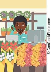 butik, blomsterhandlare, blomma, illustration., vektor