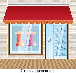 butik, boutique, beklädnad