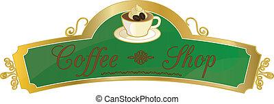 butik, coffe, underteckna