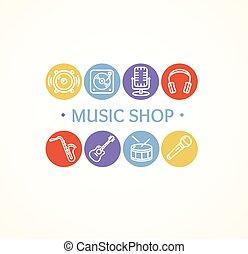 butik, concept., vektor, musik