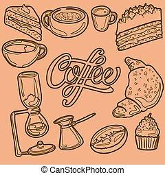 butik, cupcake, pastej, affisch, machine., efterrätter, giffel, kruka, kaffe, gemensam, tårta, kaffe, bakat, kopp, linjär, korn