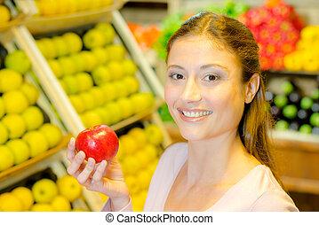 butik, dam, äpple, holdingen, röd