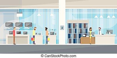 butik, elektronik, kunder, nymodig, assistent, lager