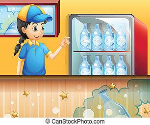 butik, flicka, soda