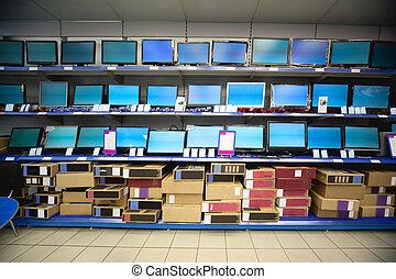butik, flytande, kugge, kristall, förevisningen, elektronik...