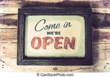 butik, kaffe, årgång, underteckna, ved, komma, we're, öppna