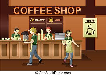 butik, kaffe, arbetande folken