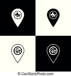 butik, karta, veterinär, sätta, djuren, ikonen, husdjuret, vektor, veterinär, isolerat, illustration, bakgrund., klinik, sjukhus, svart, clinic., medicin, veterinär, vit, pekare, eller