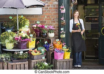 butik, kvinna, blomma, le, arbete