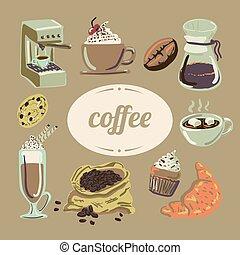 butik, maskin, varm, espresso, mysig, olik, chemex, vektor, oavgjord, hand, kaffe, sweets., affisch