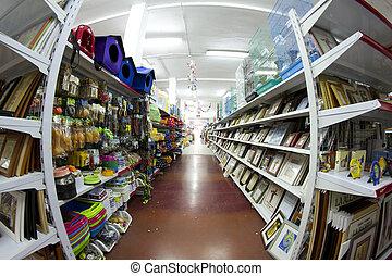 butik, med, många, produkter, stort, försäljning butiken