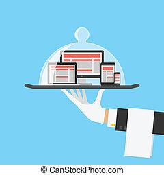 butik, nät, dator, service, concept., vektor, design, svars...