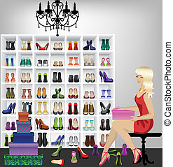 butik, nő, szőke, cipők, fárasztó