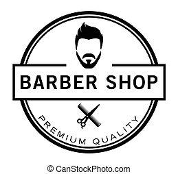 butik, raka, &, hårklippning, barberare, emblem