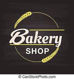 butik, ram, malt, bageri, vektor, bakgrund, cirkel, avbild