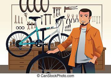 butik, reparera, hans, cykel, cykel, ägare, lager