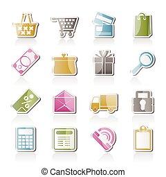 butik, sätta, ikonen, -, vektor, direkt, ikon