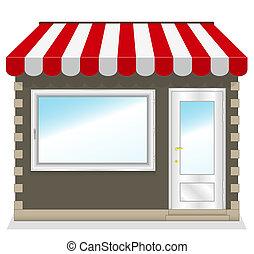 butik, söt, awnings., röd, ikon