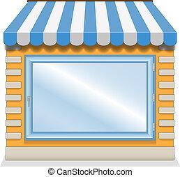butik, söt, blå, awnings., ikon