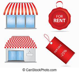 butik, söt, illustration., vektor, awnings., röd, ikon