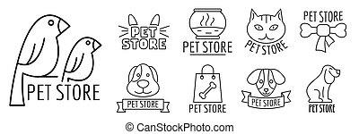 butik, stil, skissera, husdjuret, sätta, logo