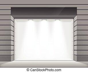butik, stor, boutique, fönster, vektor, främre del, lager