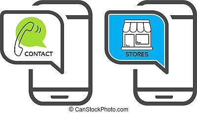 butik, symboler, elementara, ikonen, mobil, app, -, ...