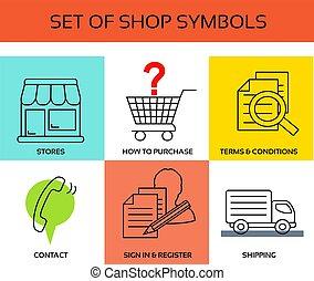 butik, symboler, vektor, termen, förhållande, -, oss, ...
