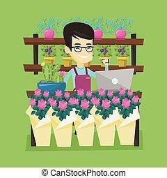 butik, talande, blomma, tel., ägare