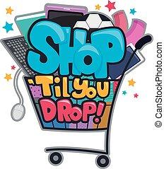 butik, til, dig, droppe, textning