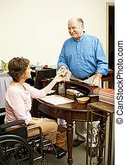 butik tjänsteman, in, rullstol