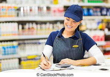 butik tjänsteman, skrift, block