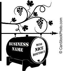 butik, ulica, wskazówka, baryłka, wino
