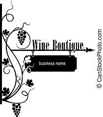 butik, ulica, wskazówka, wino