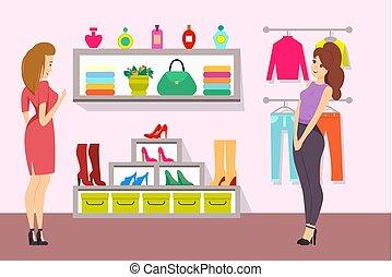 butik, vektor, bevásárlás, segédszervek, nők