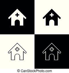 butik, veterinär, sätta, djuren, ikonen, husdjuret, vektor, veterinär, isolerat, illustration, bakgrund., klinik, sjukhus, svart, clinic., medicin, veterinär, vit, eller