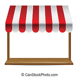 butik vindue, hos, stribet, markise