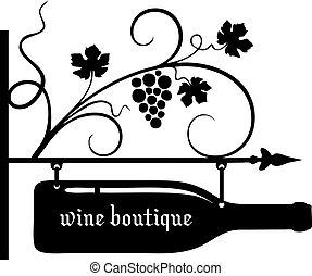 butik, wskazówka, wino