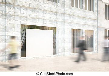 butiksfönster, med, a, vit, tom, affischtavla, driva med, uppe, 3, render