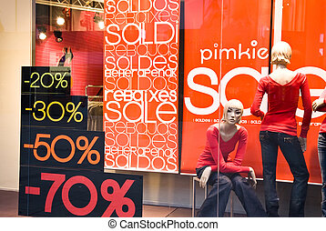 butiksfönster, med, försäljning, baner