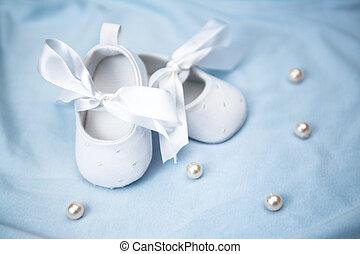 butins, couverture, bleu bébé, blanc