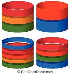 butle, walec, elementy, wykres, -, wykres, icons., segmented, multicolor, poziomy, użytek, multilevel, 3d