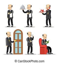 Butler Cartoon Set. Man with Serving Tray. Vector illustration