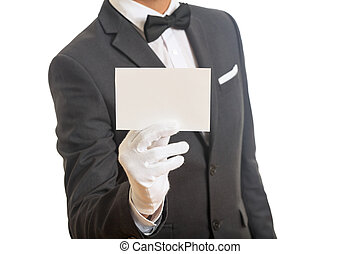 Butler holding a blank card