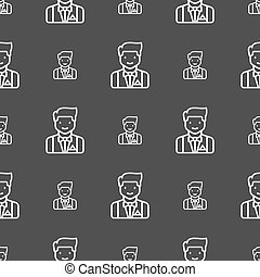 Butler icon sign. Seamless pattern on a gray background. Vector