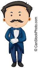 Butler in blue taxido