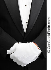 Butler with hands in front of body - Closeup of a butler...