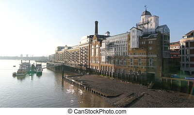 Butlers Wharf. Two shots. - Apartment, office and restaurant...