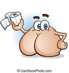 Butt Cartoon Character Holding Toilet Paper - A shiny smooth...