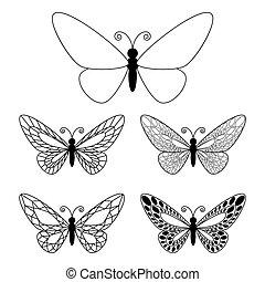 butteflies, bianco, set, isolato